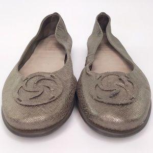 Flexx Leather Metallic Snake Bronze Ballet Flat 10